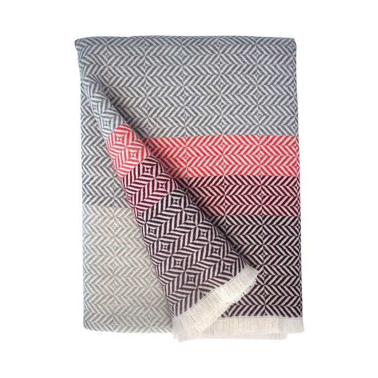 'Uccle' Woven Block Geometric Merino Wool Throw, Papaya /Pink/Burgundy/Greys For Sale