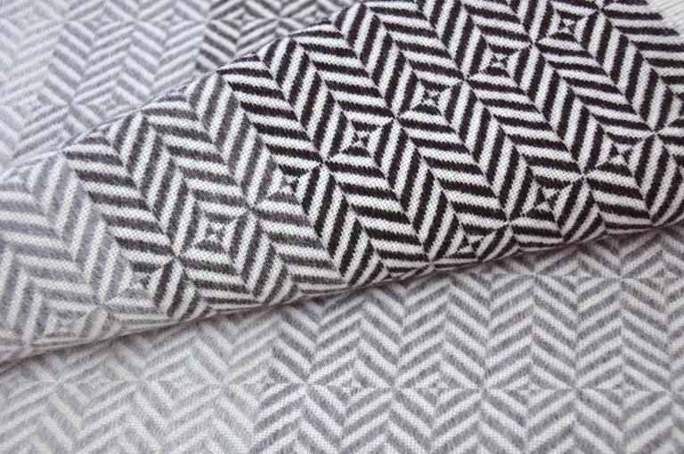 Mid-Century Modern 'Uccle' Woven Block Geometric Merino Wool Throw, Pearl Grey For Sale