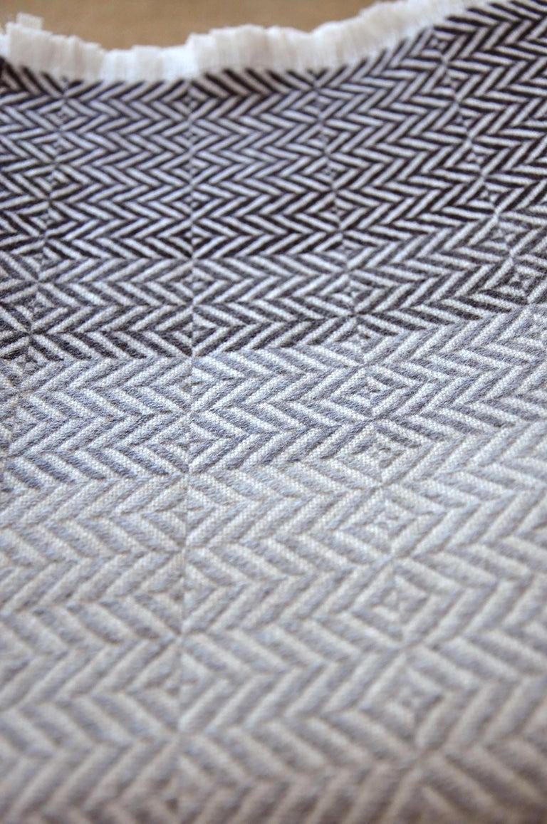 British 'Uccle' Woven Block Geometric Merino Wool Throw, Pearl Grey For Sale
