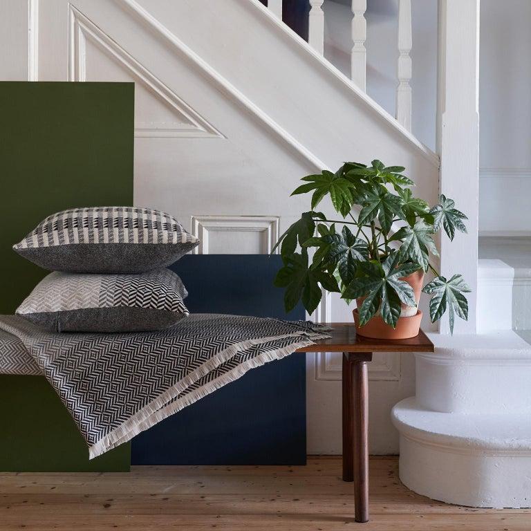 Hand-Woven 'Uccle' Woven Block Geometric Merino Wool Throw, Pearl Grey For Sale