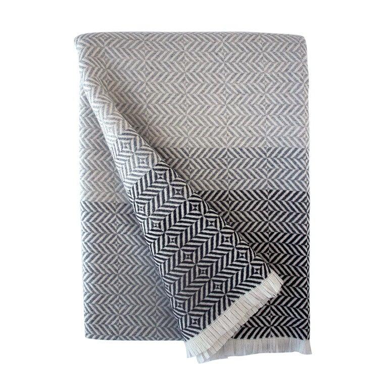 'Uccle' Woven Block Geometric Merino Wool Throw, Pearl Grey For Sale