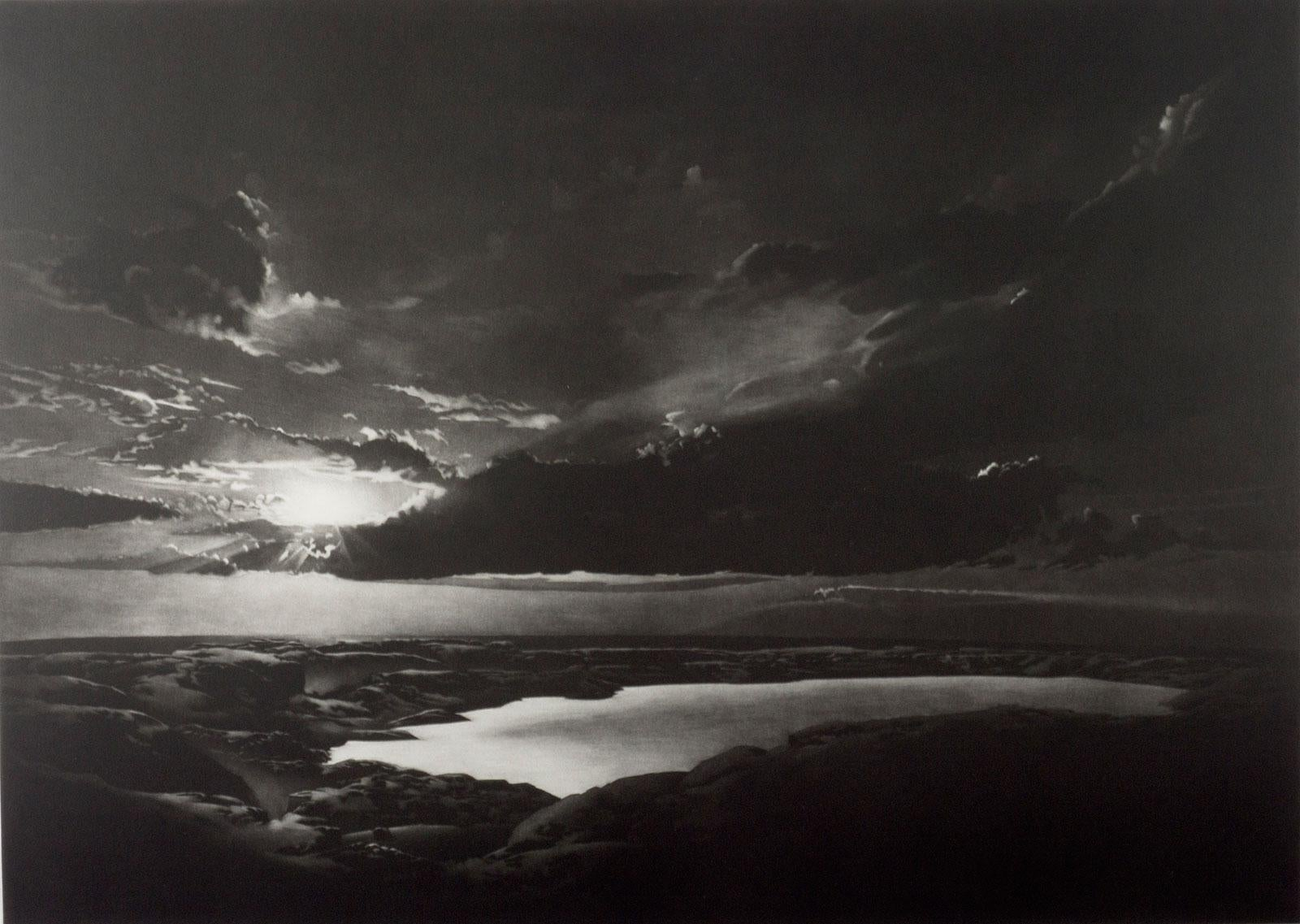 Icelandic Landscape (The sun creates dramatic cloud pattern over a glacial lake)
