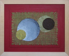 """""""Happy Planets VI"""" Acrylic Paint and Jute on Board 2015 by Udo Haderlein"""