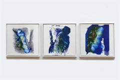 """Set of Three Pictures """"Blue Fox"""" Acrylic Ink on Canvas by Udo Haderlein, 2018"""