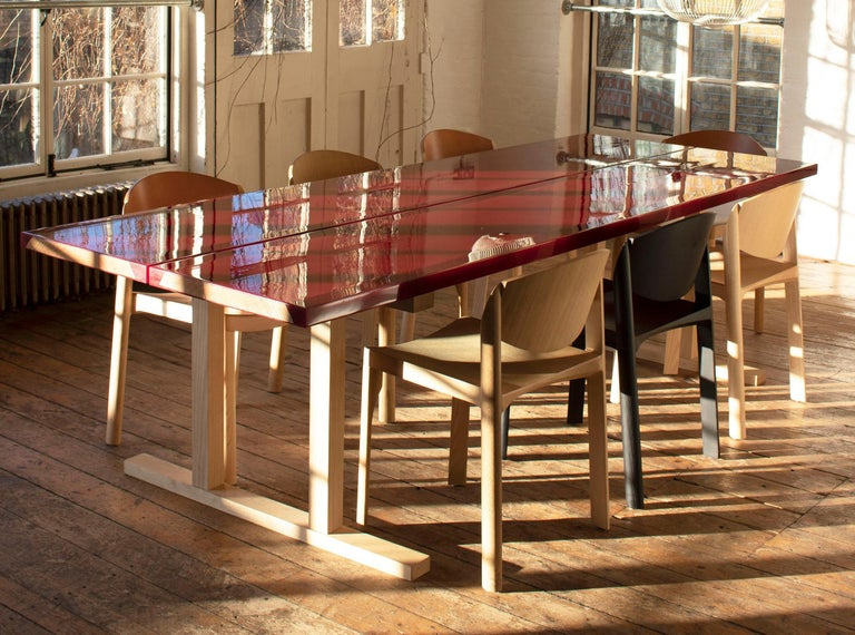 Modern Udukuri Epoxy Resin Table in Magenta by Jo Nagasaka for Established & Sons For Sale