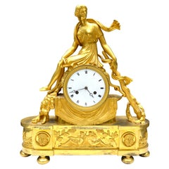 Early 19 Century French Empire Gilt Bronze Clock