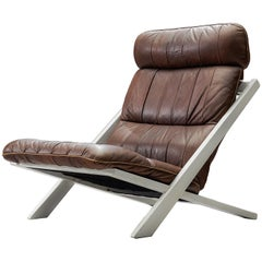 Ueli Berger Dark Brown Leather Lounge Chair for De Sede