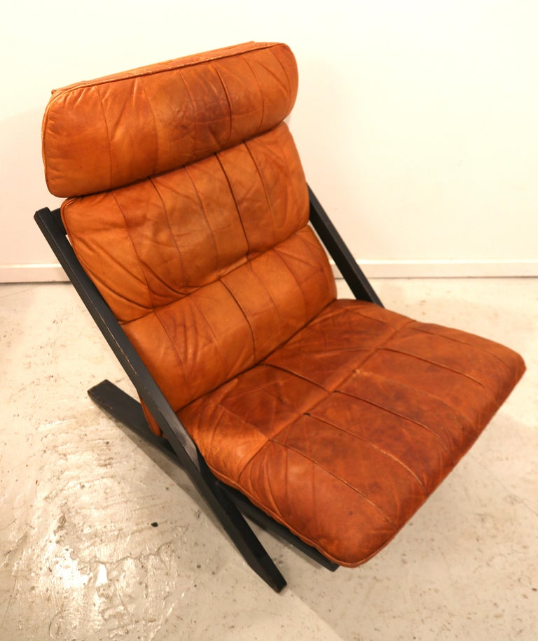 Mid-Century Modern Ueli Berger for De Sede Lounge Chair, Tanned Leather For Sale