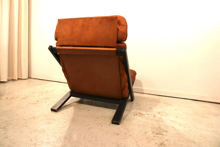 Ebonized Ueli Berger for De Sede Lounge Chair, Tanned Leather For Sale