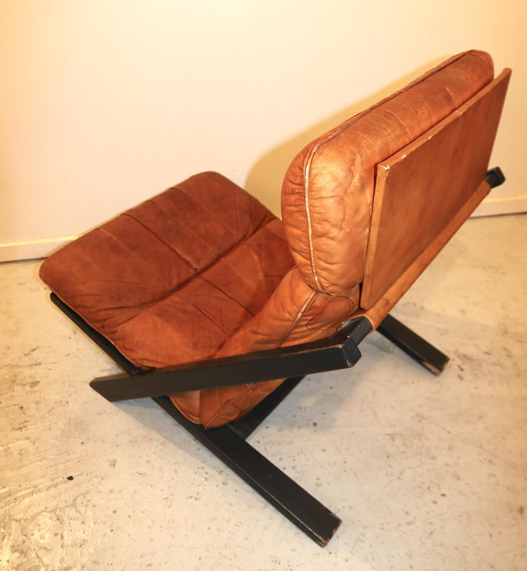 Swiss Ueli Berger for De Sede Lounge Chair, Tanned Leather For Sale