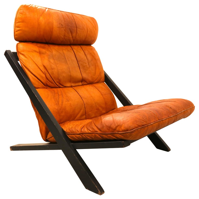 Ueli Berger for De Sede Lounge Chair, Tanned Leather For Sale