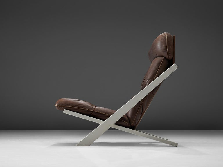 Post-Modern Ueli Berger Lounge Chair for De Sede in Dark Brown Leather For Sale