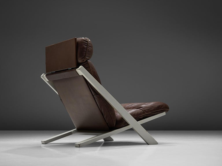 Swiss Ueli Berger Lounge Chair for De Sede in Dark Brown Leather For Sale