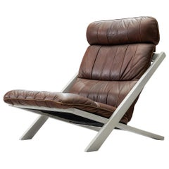 Ueli Berger Lounge Chair for De Sede in Dark Brown Leather