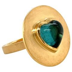 Georg Spreng - Ufo Ring 18 Karat Yellow Gold with Heart Blue Green Tourmaline