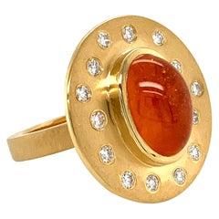 "Georg Spreng - ""Ufo Ring"" 18 Karat Yellow Gold with Mandarin Garnet and Diamonds"