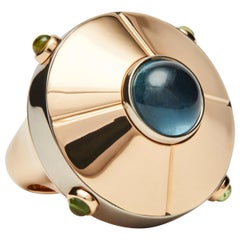 UFO Ring, 18k White and Rose Gold Cocktail Ring Set with Tourmaline Cabochons