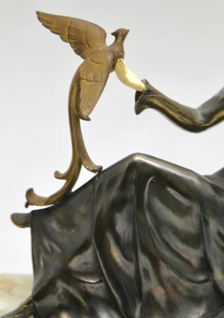 Ugo Cipriani Art Deco Statuette, Woman with Birds of Paradise, Signed Menneville For Sale 3