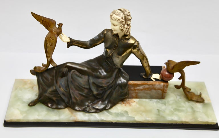 Ugo Cipriani Art Deco Statuette, Woman with Birds of Paradise, Signed Menneville For Sale 4