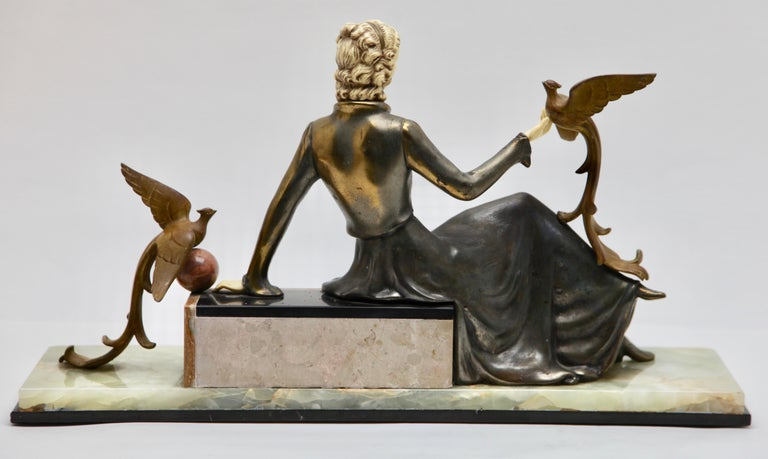 Ugo Cipriani Art Deco Statuette, Woman with Birds of Paradise, Signed Menneville For Sale 5