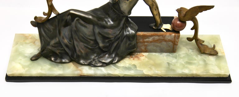 Ugo Cipriani Art Deco Statuette, Woman with Birds of Paradise, Signed Menneville For Sale 6