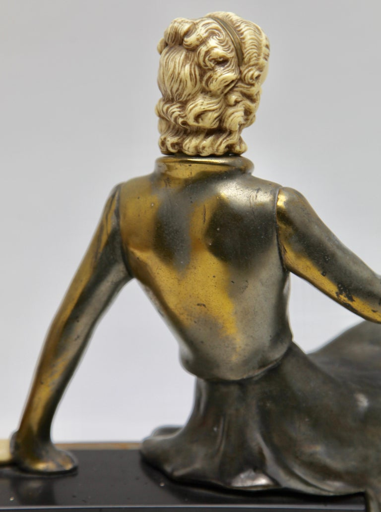 Ugo Cipriani Art Deco Statuette, Woman with Birds of Paradise, Signed Menneville For Sale 7