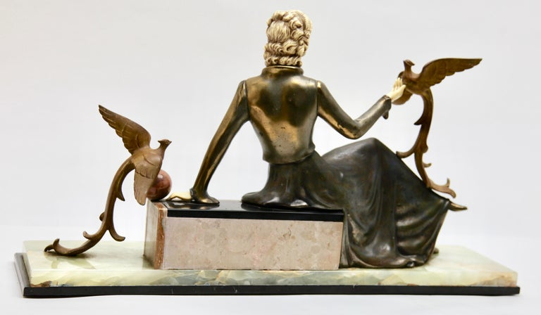 Ugo Cipriani Art Deco Statuette, Woman with Birds of Paradise, Signed Menneville For Sale 8
