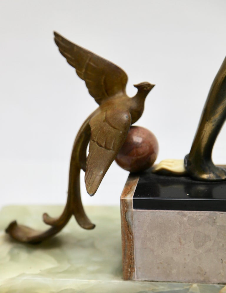 Ugo Cipriani Art Deco Statuette, Woman with Birds of Paradise, Signed Menneville For Sale 9