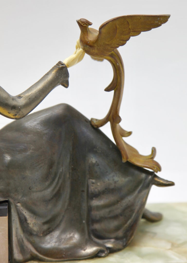 Ugo Cipriani Art Deco Statuette, Woman with Birds of Paradise, Signed Menneville For Sale 10