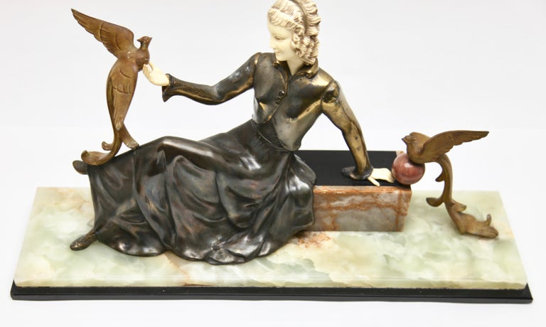 Hand-Crafted Ugo Cipriani Art Deco Statuette, Woman with Birds of Paradise, Signed Menneville For Sale