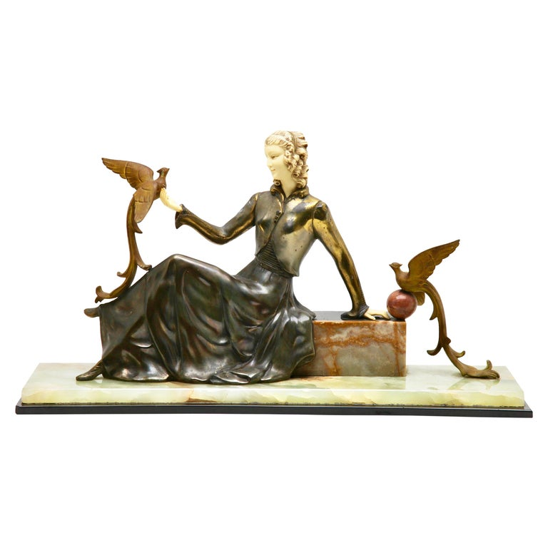 Ugo Cipriani Art Deco Statuette, Woman with Birds of Paradise, Signed Menneville For Sale