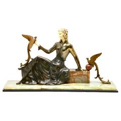 Ugo Cipriani Art Deco Statuette, Woman with Birds of Paradise, Signed Menneville
