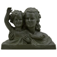 Ugo Cipriani French Large Art Deco Terracotta Mother and Child Sculpture, 1930s