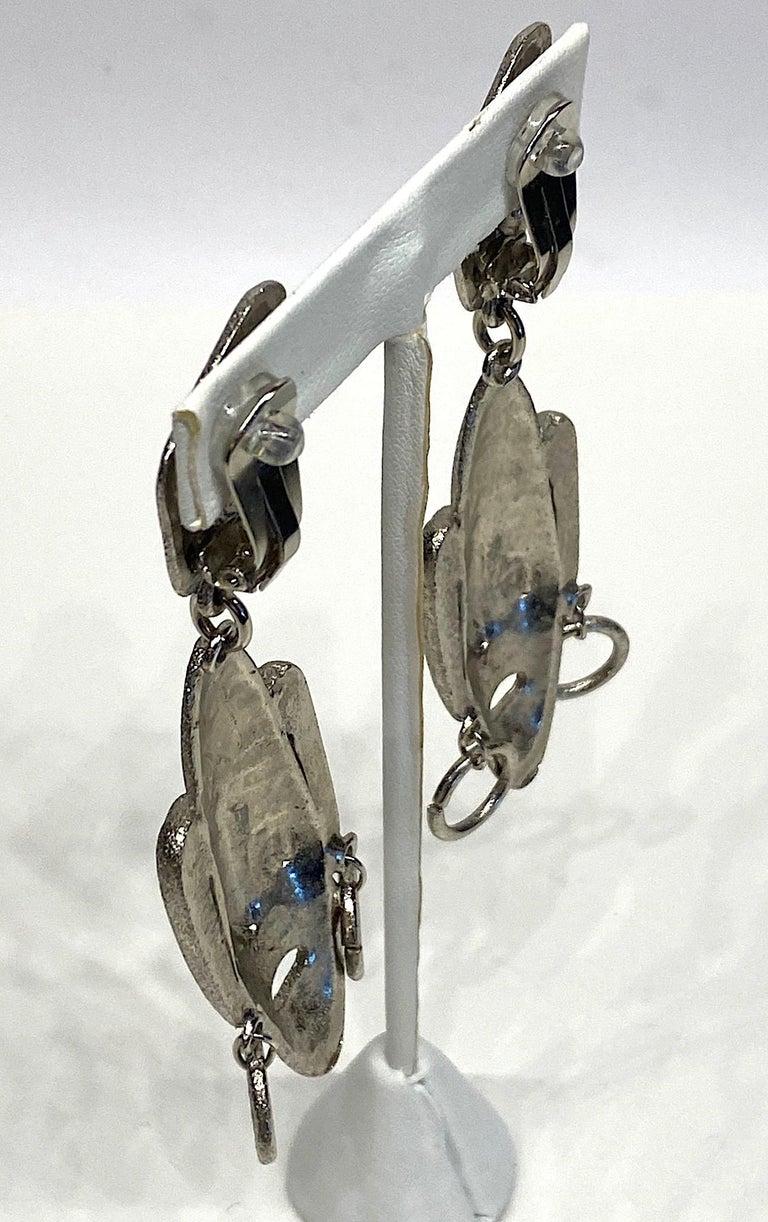 Ugo Correani 1980s Abstract Face Pendant Earrings For Sale 5