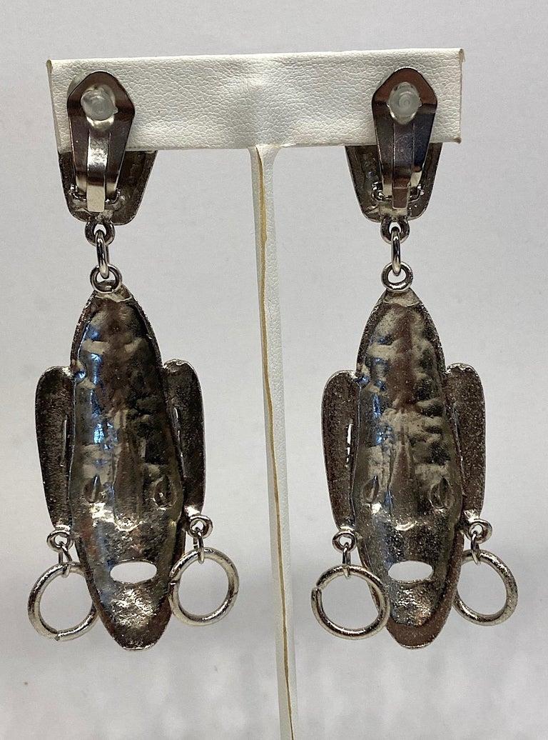 Ugo Correani 1980s Abstract Face Pendant Earrings For Sale 6