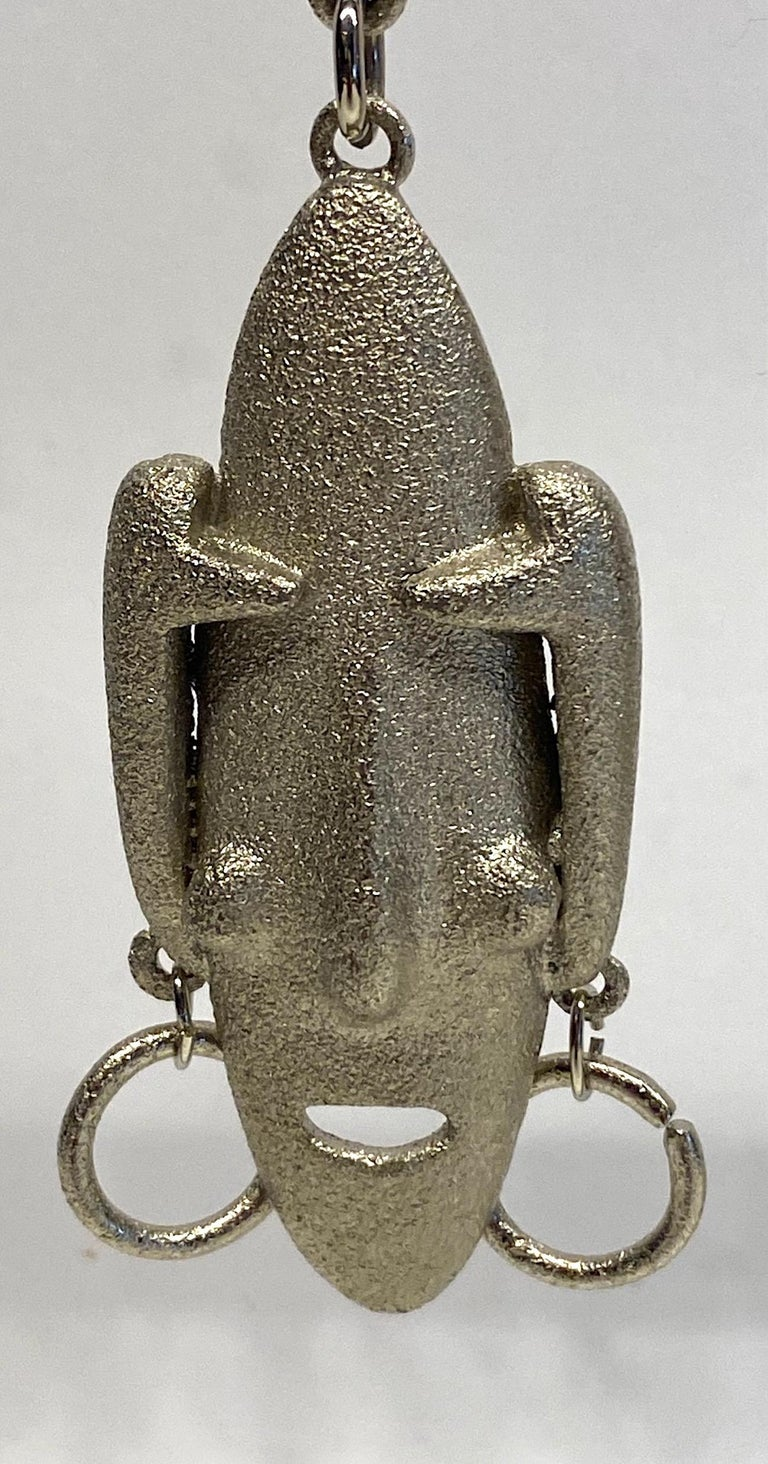 Modernist Ugo Correani 1980s Abstract Face Pendant Earrings For Sale