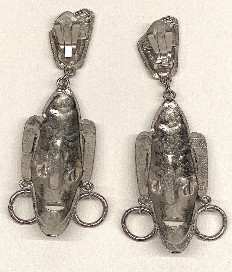Ugo Correani 1980s Abstract Face Pendant Earrings For Sale 2