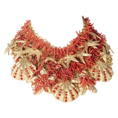 Ugo Correani necklace for Gianni Versace Capri series in metal and coral, 1980s