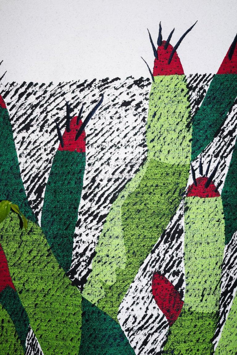 Italian Ugo La Pietra Artificial Nature #3 Cotton Silk Virgin Wool Tapestry