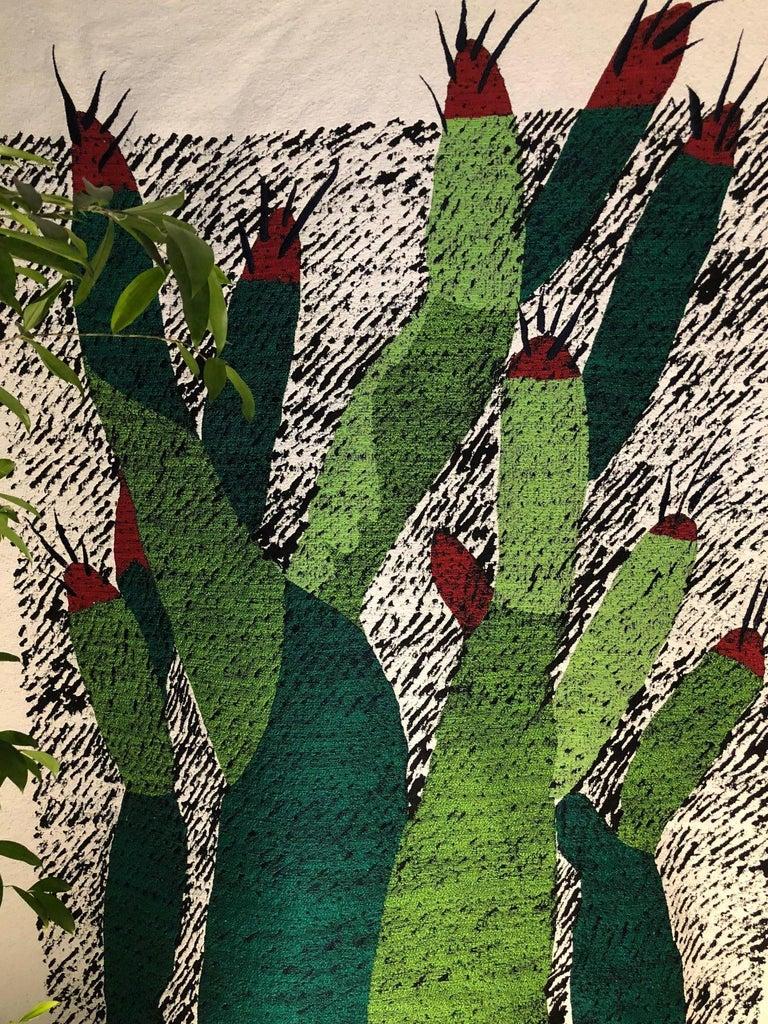 Ugo La Pietra Artificial Nature #3 Cotton Silk Virgin Wool Tapestry In Excellent Condition In Milan, IT