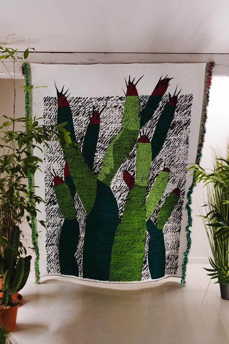 Contemporary Ugo La Pietra Artificial Nature #3 Cotton Silk Virgin Wool Tapestry