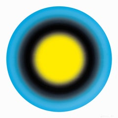 Small Sun I contemporary Abstract geometric yellow and blue silkscreen print