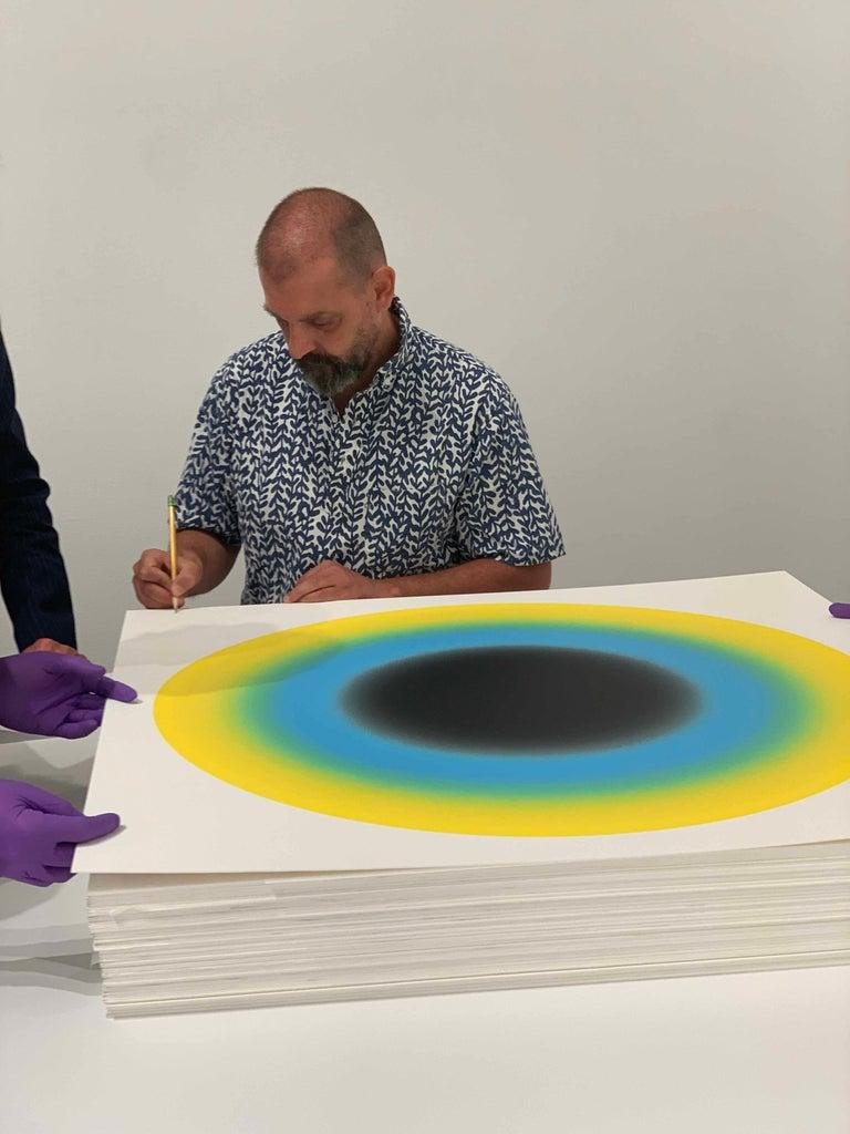 Small Sun II Contemporary Abstract geometric yellow and blue silkscreen print  - Print by Ugo Rondinone