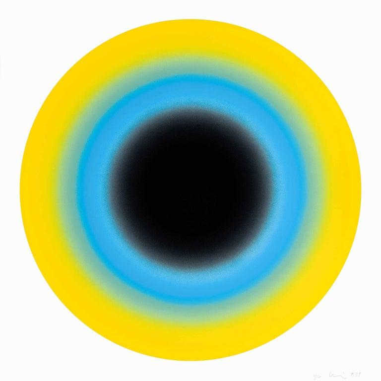 Ugo Rondinone Abstract Print - Small Sun II Contemporary Abstract geometric yellow and blue silkscreen print