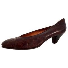 Ugo Rossetti Brown Wild Baby Crocodile Heels - Size 39 1/2 (EU)