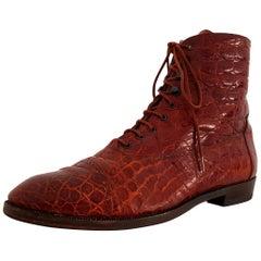 Ugo Rossetti Brown Wild Crocodile Leather Boots. NEW. Size 40 (EU)