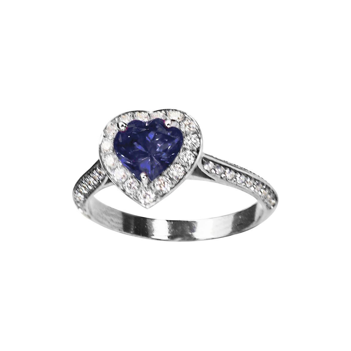 Ugolini 18 Karat Gold 0.78 Karat Tanzanite 0.50 Karat White Diamonds Love Ring