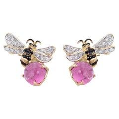 Ugolini 18 Karat Gold Pink Tourmaline White & Black Diamonds Bees Stud Earrings