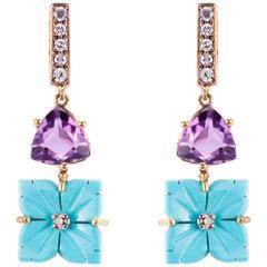Ugolini 18 Karat Yellow Gold 0.12 Karat White Diamond Turquoise Flower Earrings