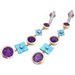 Ugolini 18 Karat Yellow Gold 0.28 Karat White Diamond Turquoise Flower Earrings